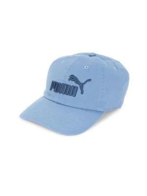Puma Logo Cotton Baseball Cap In Blue Combo