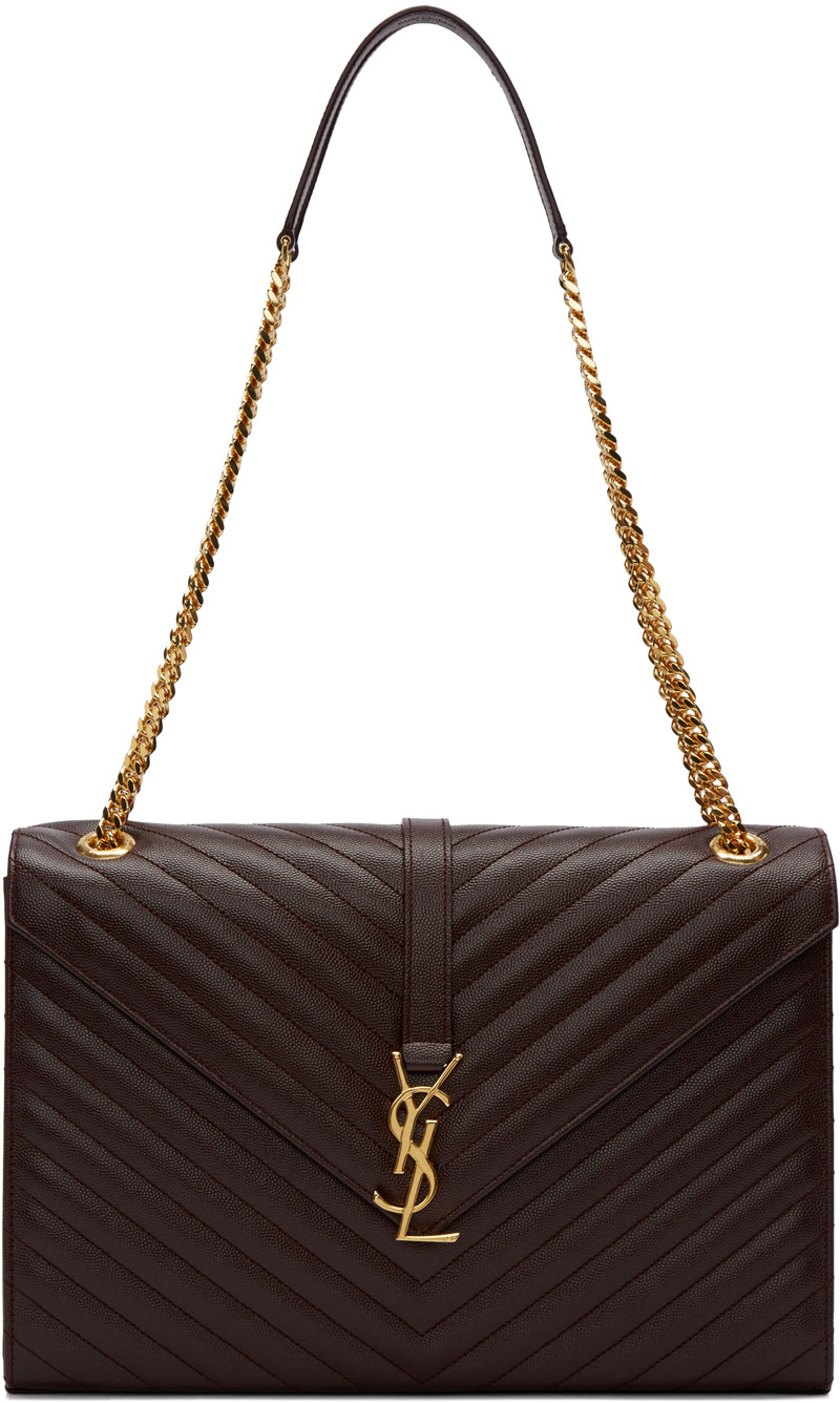 4a5cfb78f19 Saint Laurent Large Monogram Matelasse Leather Chain Shoulder Bag In Purple
