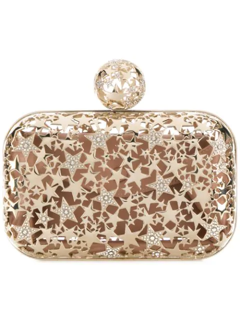 fe34bd04ea Jimmy Choo Cloud Gold Metal Star Cage Clutch Bag With Crystals ...