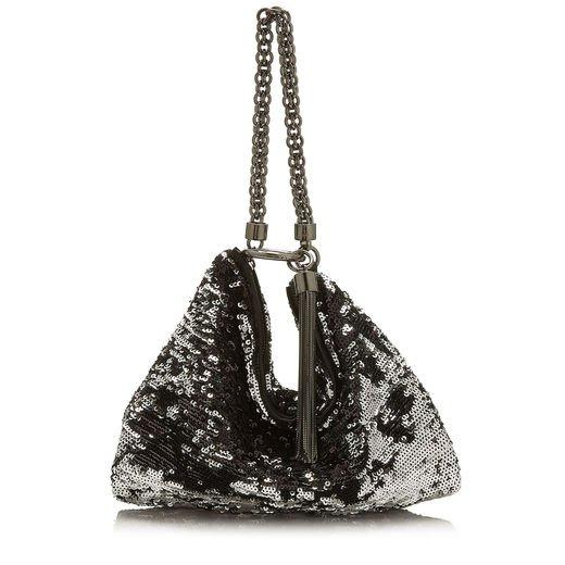 fb8740096e Jimmy Choo Callie Black And Silver Double Faced Sequined Clutch Bag In  Black/Silver