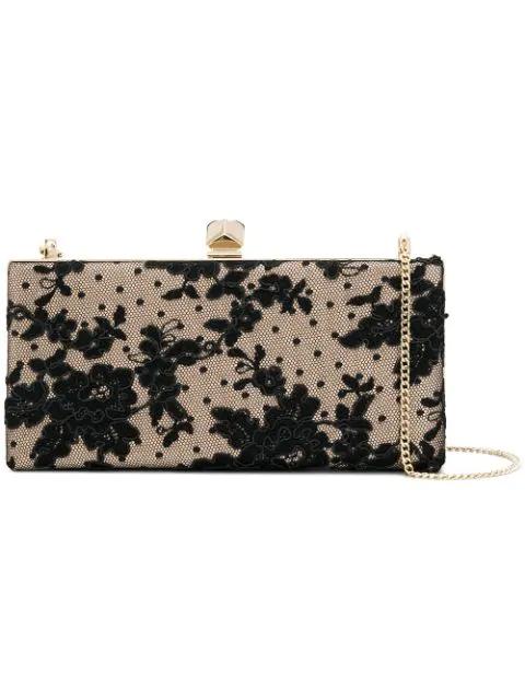 Jimmy Choo Celeste/s Black Floral Lace Clutch Bag With Cube Clasp