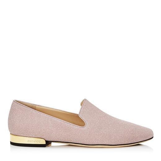 2f5de7a2e0f2c5 Jimmy Choo Jaida Flat Ballet Pink Fine Glitter Fabric Square Toe Slippers