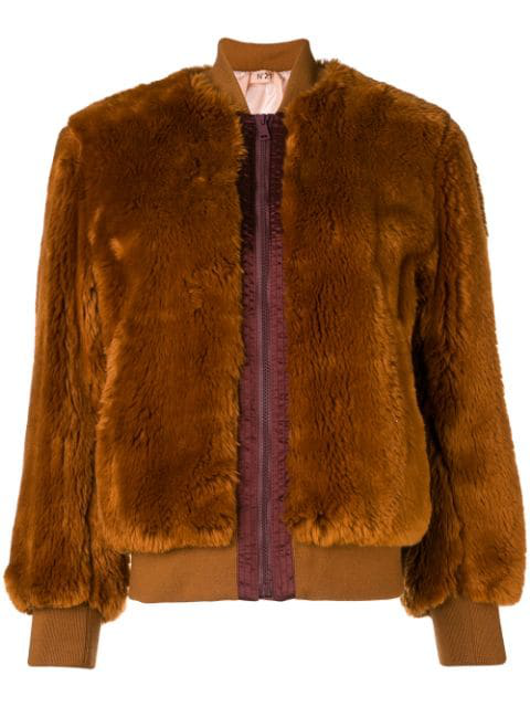 N°21 Nº21 Faux Fur Bomber Jacket - Brown