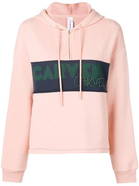 Carven Logo Panel Half-zip Hoodie In Pink