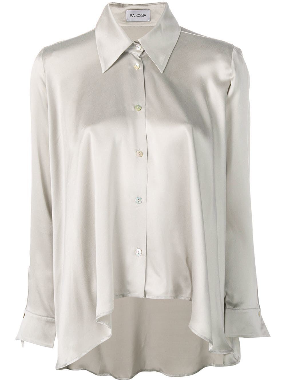 0cdba83be9e Balossa White Shirt Asymmetric Silk Shirt - Grey | ModeSens