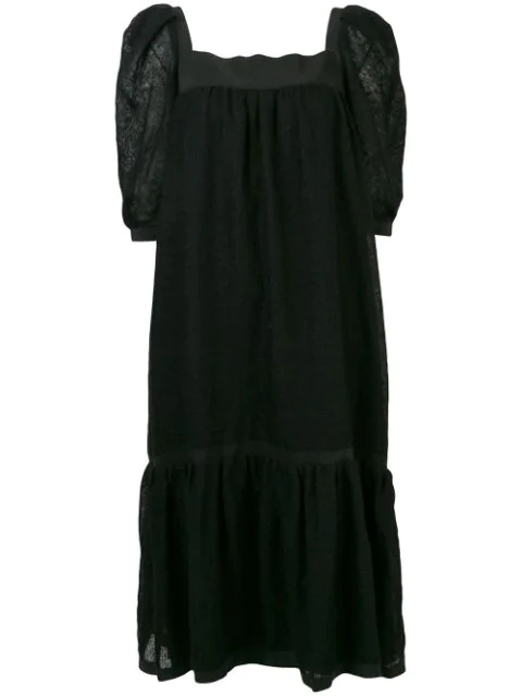 Pre-owned A.n.g.e.l.o. Vintage Cult Midi Flared Dress In Black