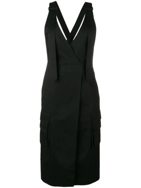 Juun.j Wrap Style Pinafore Dress - Black