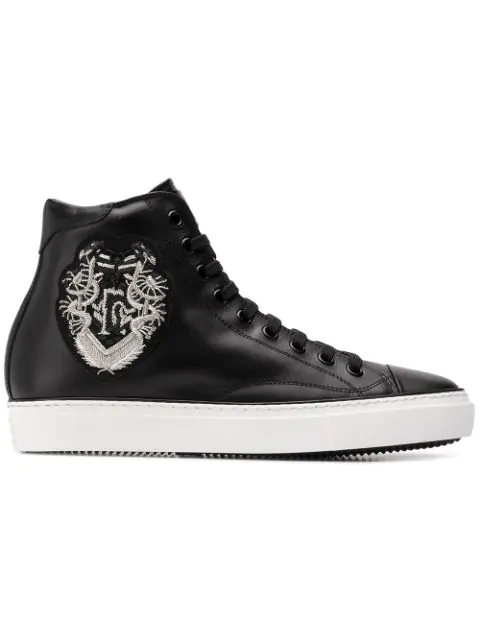 168f27f7452 Roberto Cavalli Embroidered Motif Hi-Top Sneakers - Black