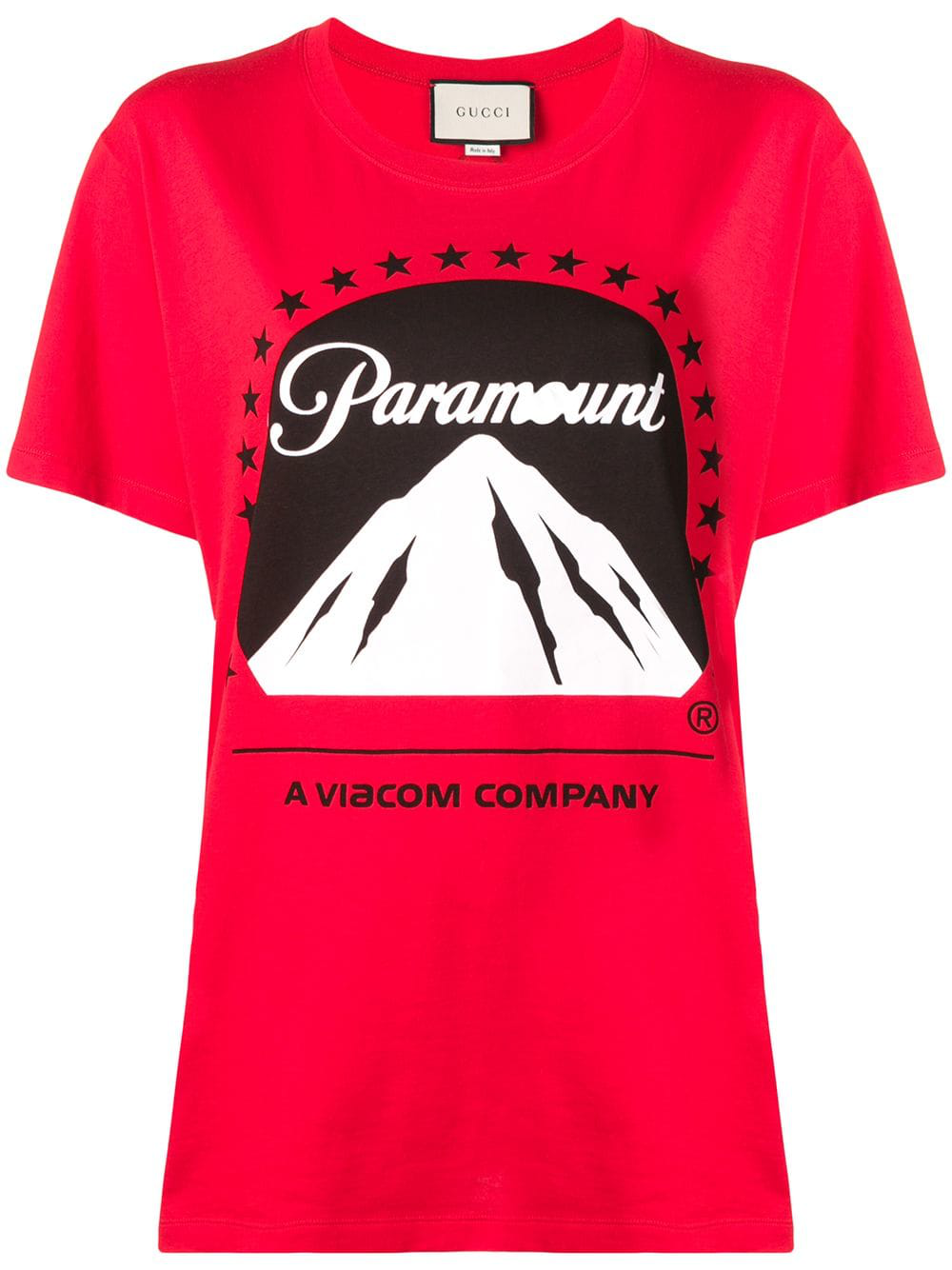 7349072d8 Gucci Paramount Logo T-Shirt - Red | ModeSens