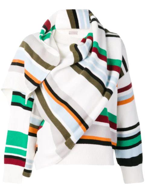 Mrz Striped Wrap Sweater In White