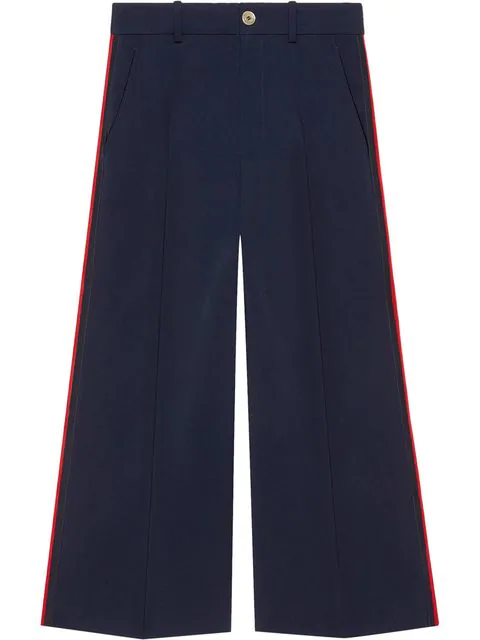 Gucci Viscose Culotte Pant With Web In Blue