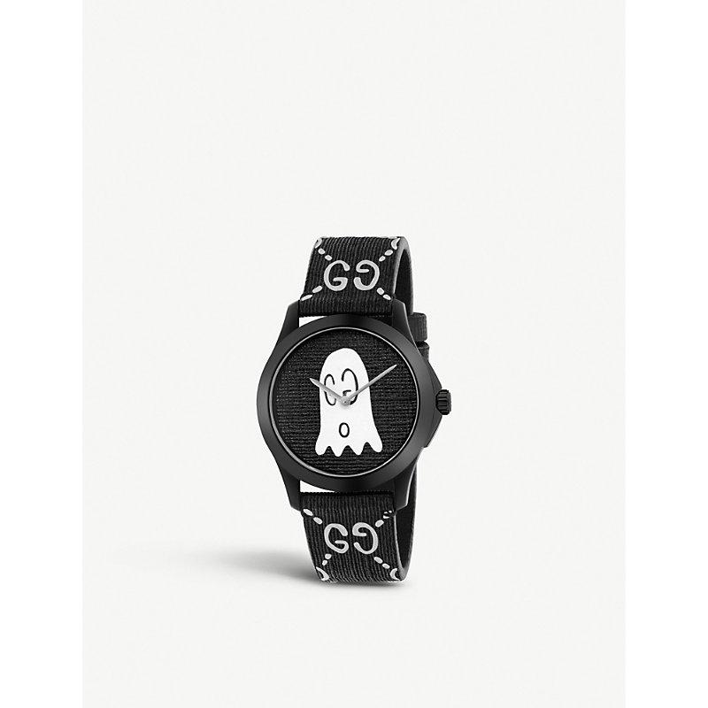 135869d6163 Gucci Ya1264018 G-Timeless Ghost Stainless Steel And Rubber Watch In Black