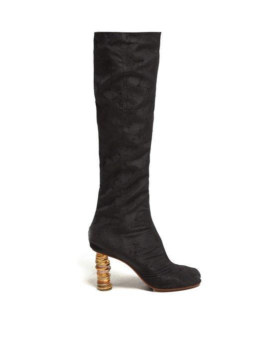 Vetements Geisha Split Toe Coin Heel Jacquard Boots In Black