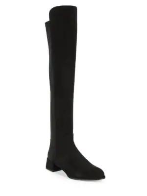 Stuart Weitzman Fifo Suede Tall Boots In Black