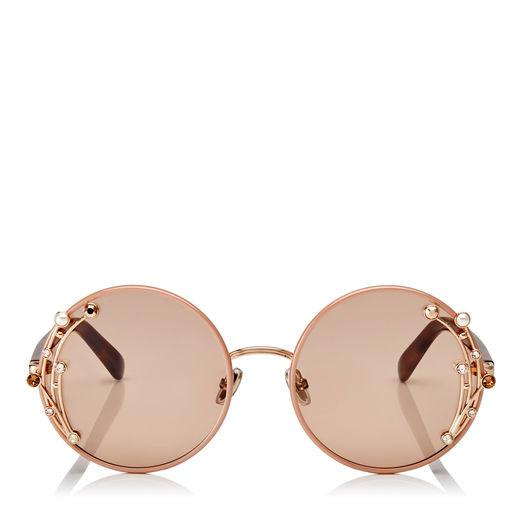 8746fd17c4f Jimmy Choo Gema Nude Round Shaped Metal Sunglasses With Swarovski Crystals  And Pearls In E2S Pink