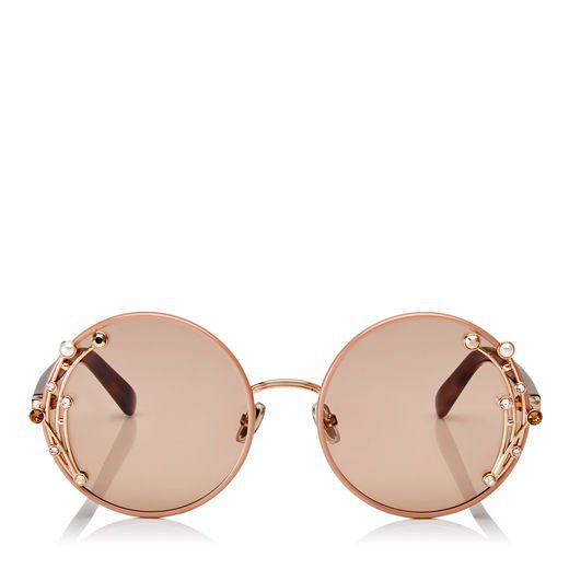 d1cf58a9662f Jimmy Choo Gema Nude Round Shaped Metal Sunglasses With Swarovski Crystals  And Pearls In E2S Pink