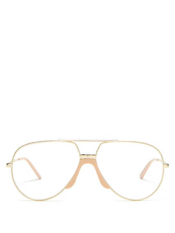 Gucci Aviator Metal Glasses In Clear