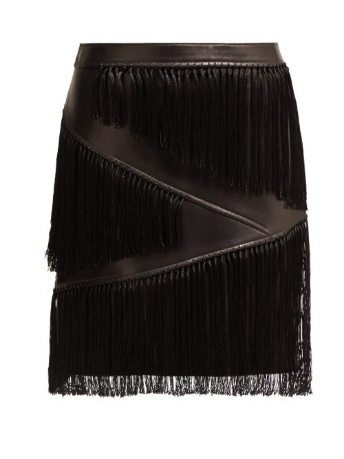 Versace Fringed Leather Mini Skirt In Black