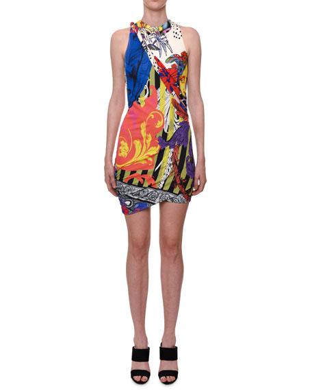 Versace Sleeveless Multi-Print Viscose Mini Dress W/ Asymmetric-Hem In Black