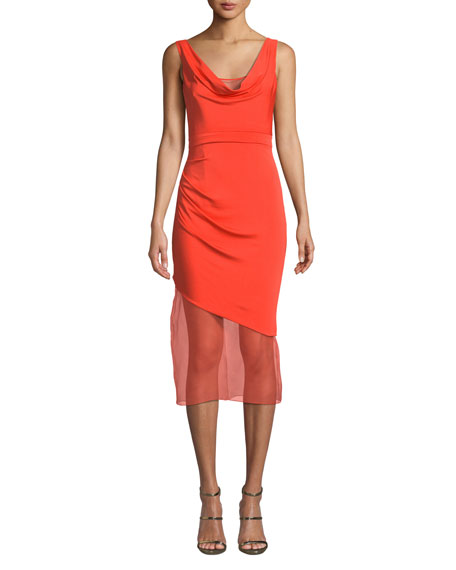 Cushnie Et Ochs Sleeveless Cowl-neck Matte Jersey Body-con Dress W/ Organza In Clementine