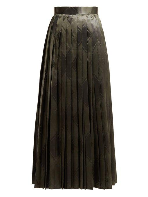 The Row Essa Pleated Silk Jacquard Skirt In Mid Green