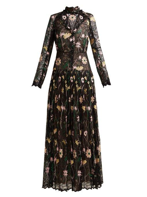 Giambattista Valli Floral-Embroidered Chantilly-Lace Gown In Black Multi