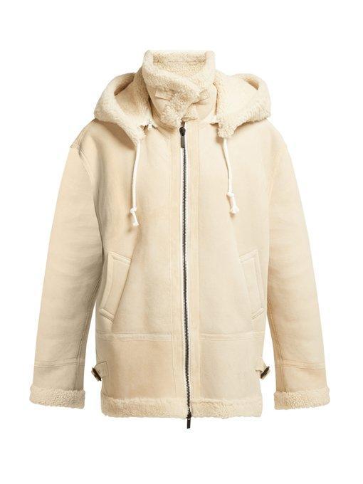 Raey Aviator Shearling Jacket In Ivory