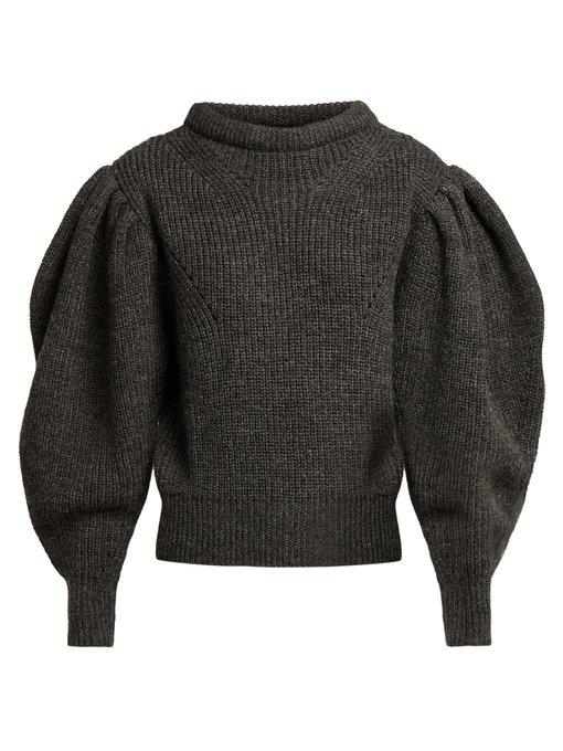 Isabel Marant Brettany Ribbed-Knit Wool Sweater In Charcoal Grey