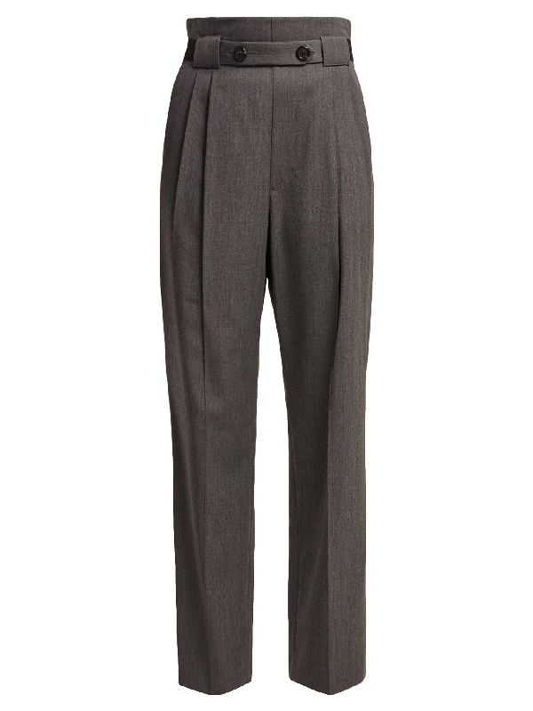 Helmut Lang High-rise Wool-twill Trousers In Grey