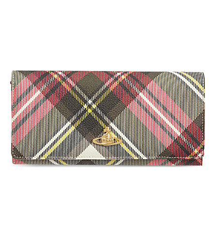 Vivienne Westwood Derby Checked Grained Leather Wallet In New+Exhibition