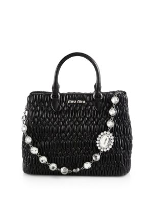 Miu Miu Nappa Crystal Matelasse Leather Satchel In Black