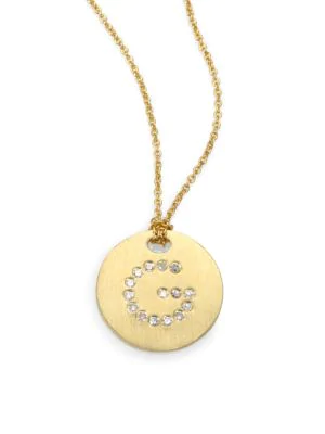 Roberto Coin Tiny Treasures Diamond & 18K Yellow Gold Initial Pendant Necklace In Initial G