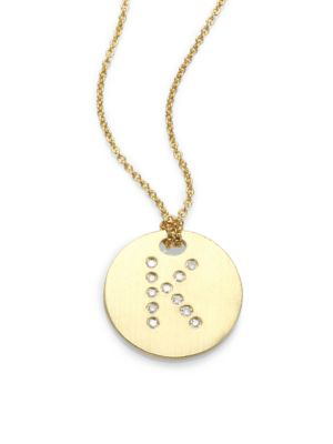 Roberto Coin Tiny Treasures Diamond & 18K Yellow Gold Initial Pendant Necklace In Initial K
