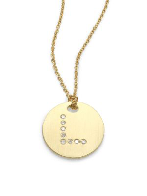 Roberto Coin Tiny Treasures Diamond & 18K Yellow Gold Initial Pendant Necklace In Initial L
