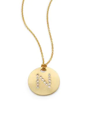 Roberto Coin Tiny Treasures Diamond & 18K Yellow Gold Initial Pendant Necklace In Initial N