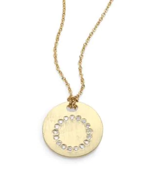 Roberto Coin Tiny Treasures Diamond & 18K Yellow Gold Initial Pendant Necklace In Initial O