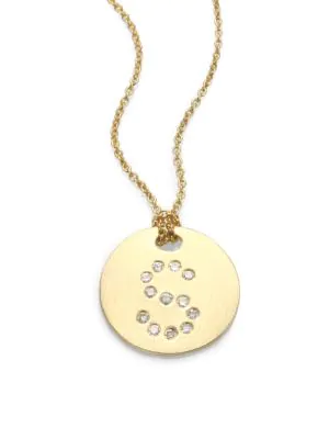 Roberto Coin Tiny Treasures Diamond & 18K Yellow Gold Initial Pendant Necklace In Initial S