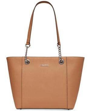 Calvin Klein Hayden Saffiano Leather Large Tote In Buff/Silver