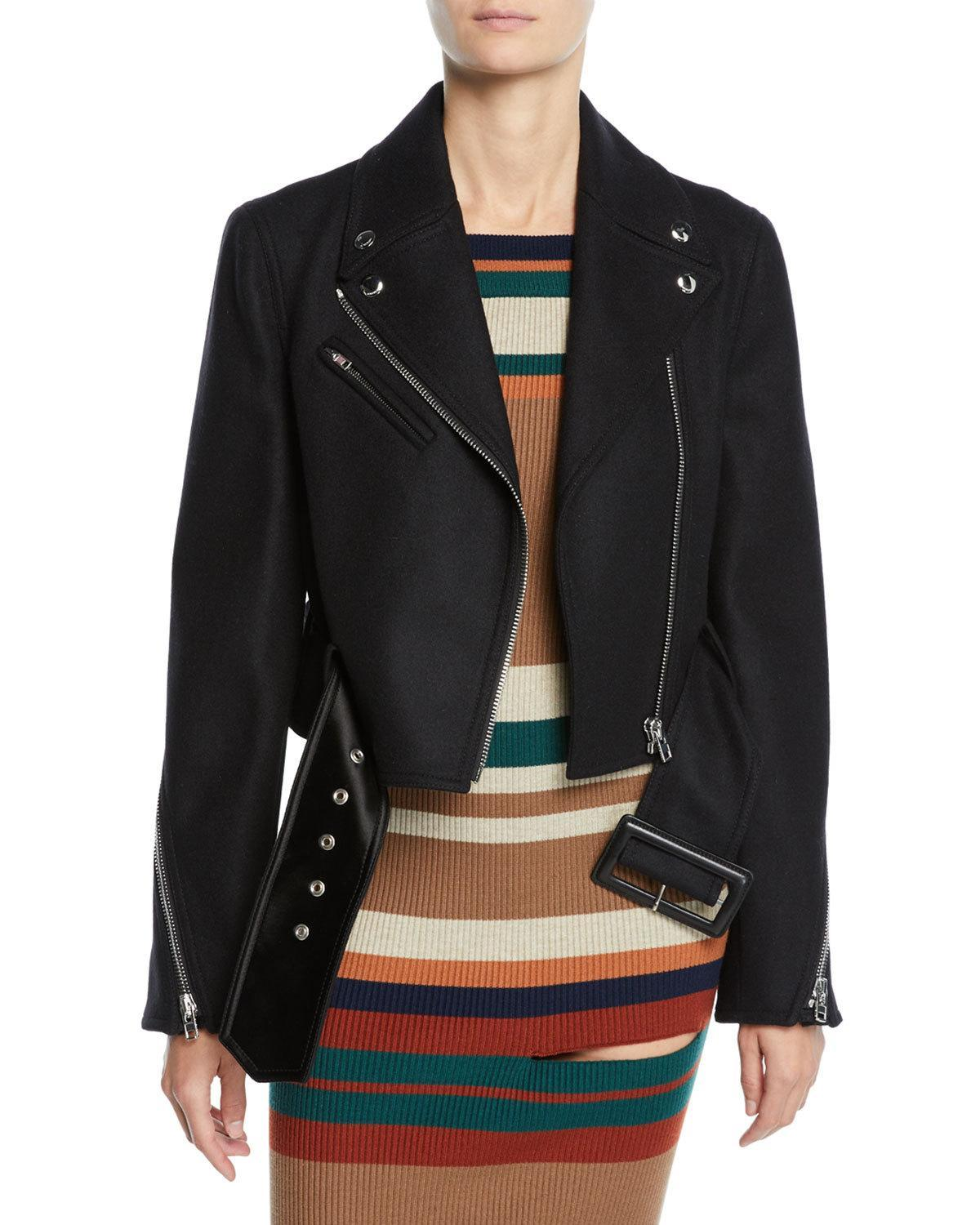 Givenchy Cropped Stretch Wool Biker Jacket In Black