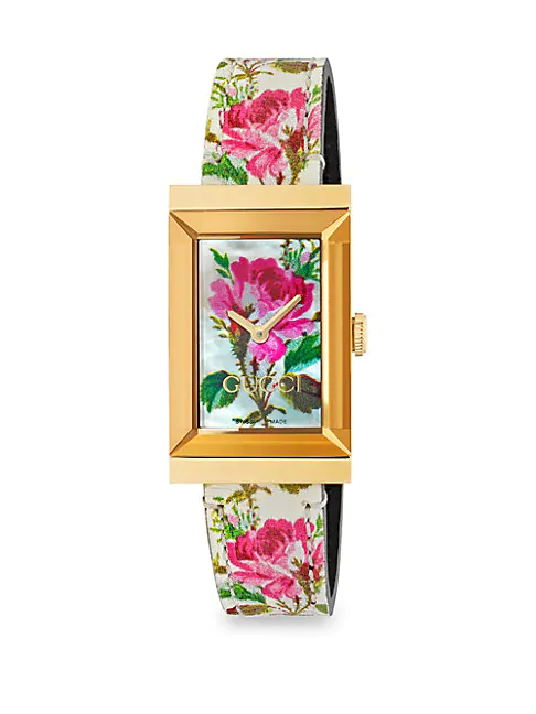 Gucci Ya147406 G-frame Pvd Yellow Gold-plated, Mother-of-pearl And Leather Strap Watch In White/ Floral/ Gold