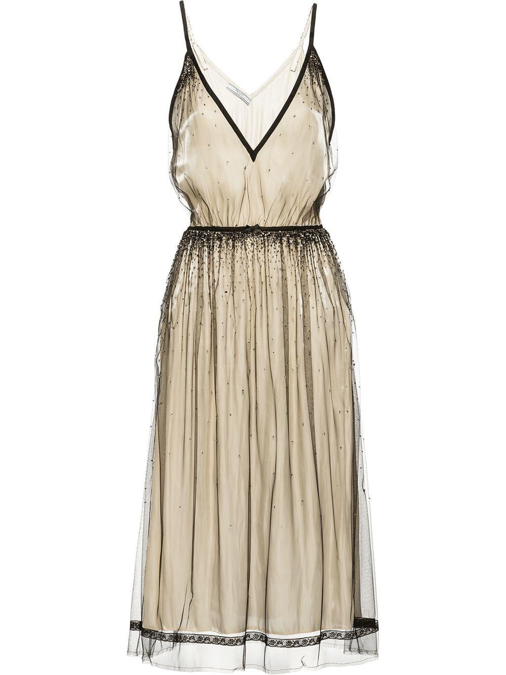e4ca8364f606 Prada Embellished Tulle Dress - Farfetch In Neutrals