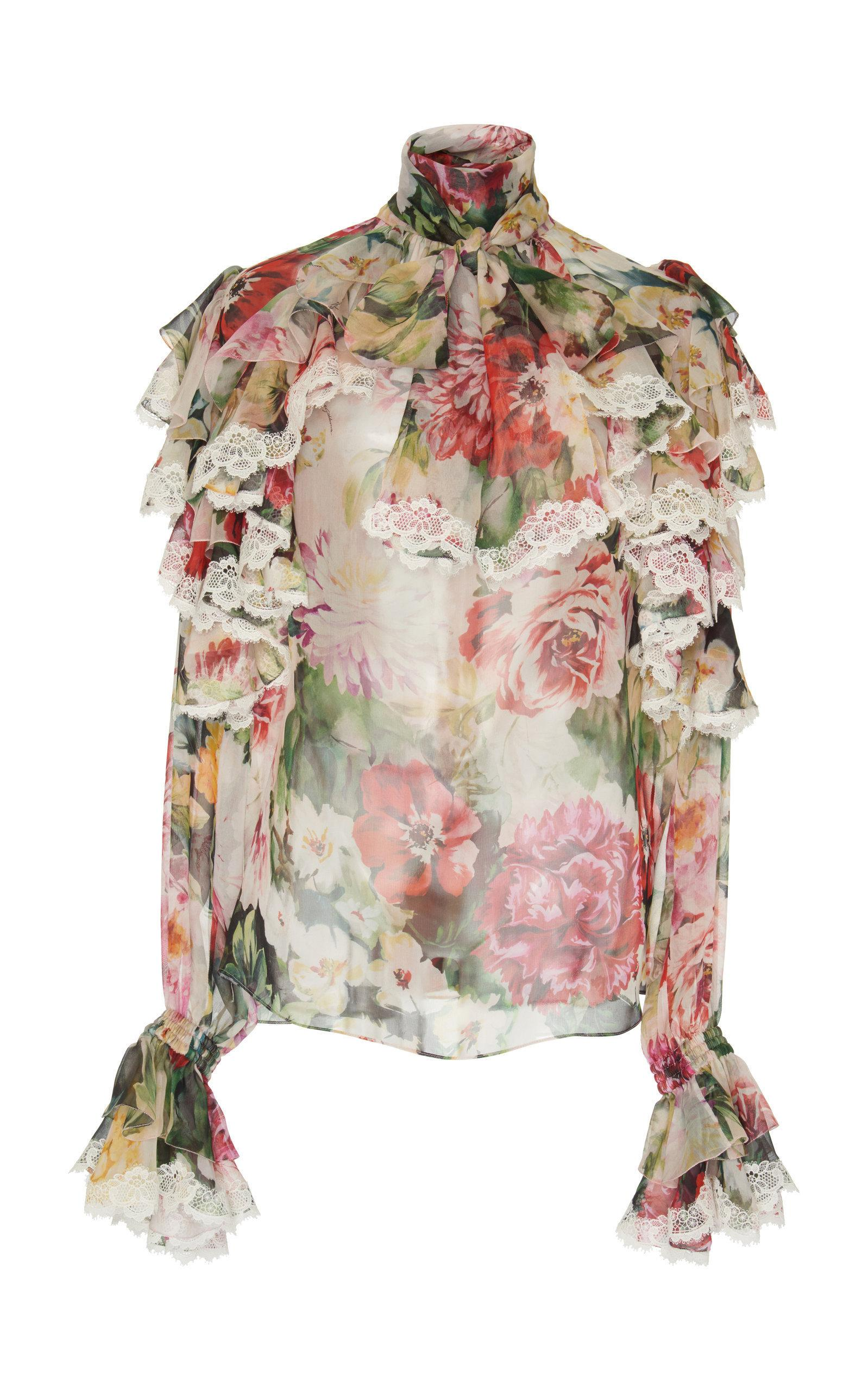 3897c45643ef1 Dolce   Gabbana Ruffled Lace-Trimmed Floral Silk-Georgette Blouse ...