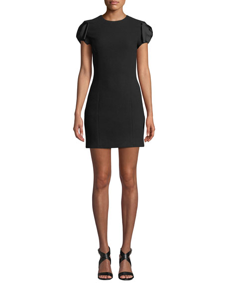 Michael Kors Satin Bow-Sleeve Boucle Crepe Mini Dress In Black