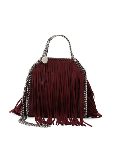 Stella Mccartney Tiny Bella Fringe Fold-Over Bucket Bag In Plum