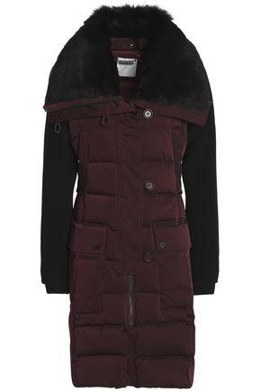 Ashley B. Woman Shearling-Trimmed Twill Down Jacket Burgundy