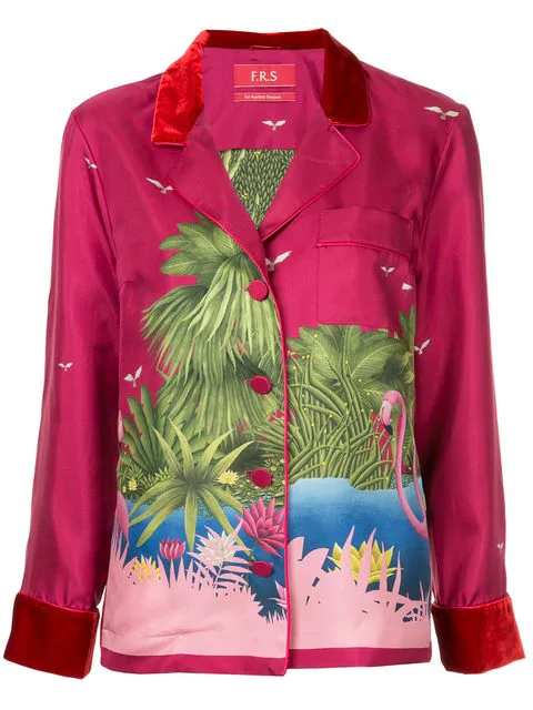 F.R.S For Restless Sleepers Flamingo Print Shirt In Purple