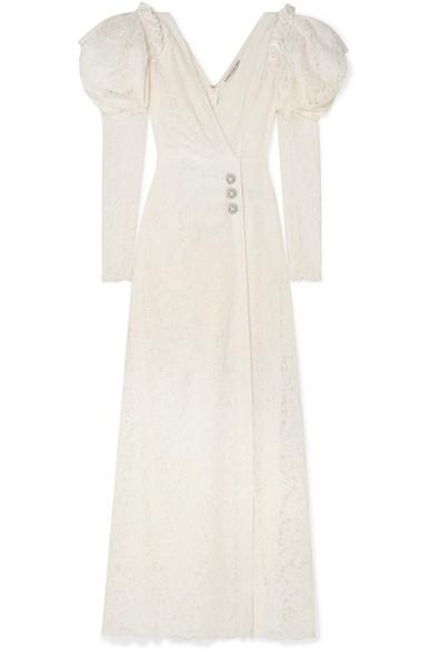 Alessandra Rich Crystal-Embellished Cotton-Blend Lace Gown In White