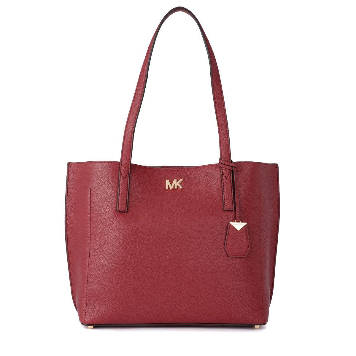 Michael Kors Ana Red Tumbled Leather Shoulder Bag In Rosso