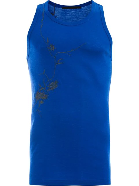 Haider Ackermann Embroidered Tank Top In Blue