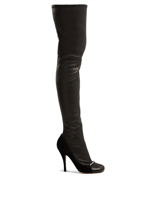 Valentino Ring-Toes Over-The-Knee Leather Boots In Black